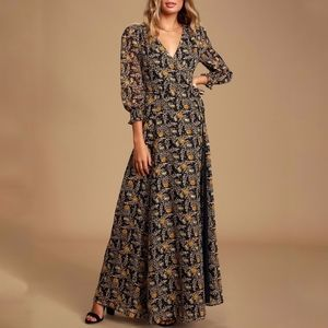 Lulus Meet Me There black floral wrap dress maxi S